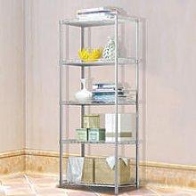 Silver Metal 5 Tier Shelving Storage Kitchen
