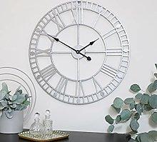 Silver Metal Skeleton Clock 60cm x 60cm