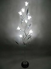 Silver Metal Swirl LED Spiral Floor Lamp with