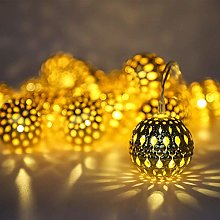 Silver Moroccan Orb String Light, Waterproof 20LED