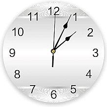 Silver Plant Flower 3D Wall Clock Modern Design