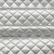 Silver Quilted Leather Diamond Stitch Padded