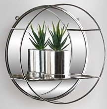 Silver Rounded Mirrored Floating Shelf Decorative