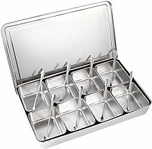 Silver Seasoning Box 8 Grids Stainless Steel
