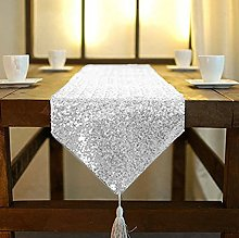 Silver Sequin Table Runner with Tassle 12x120-Inch