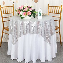 Silver Sequin Tablecloth Square 48x48-Inch Table