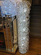 Silver Swirl Metal Mesh LED Tall Modern Floor Lamp