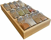 Simhoo Bamboo Spice Rack in-Drawer Tray Kitchen
