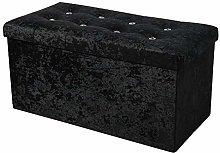 simpahome Large Fold Flat Ottoman Storage - Black