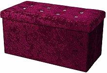 simpahome Large Fold Flat Ottoman Storage - Purple