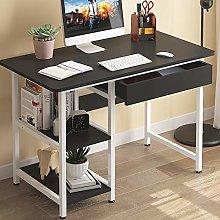 Simple Computer Desk, Desk with Shelves & Drawer,