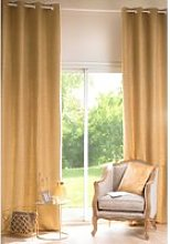 Simple Curry Yellow Fabric Eyelet Curtain 130x300