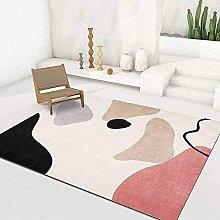 Simple Geometric Pink Purple Black Rug for Bedroom