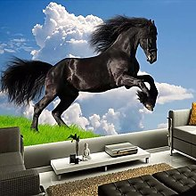 Simple Home Decoration Black Horse Racing Photo