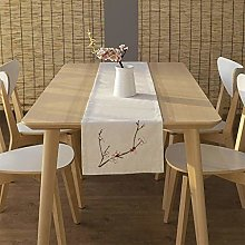 Simple Linen Embroidered White Table Runner for