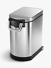 simplehuman Pet Food Storage Bin, Brushed Chrome,