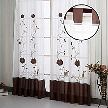 SIMPVALE 1 Piece Blinds Curtain Floral Embroidery