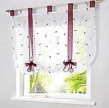SIMPVALE 1 Piece Roman Blinds Bowknot Embroidery