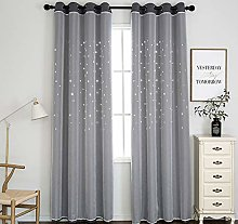 SIMPVALE Blackout Curtain, Star Curtain with Voile