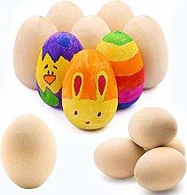 SIMUER Wooden Eggs, 12Pcs Unpainted Easter Eggs