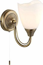 Single Antique Brass and Frosted Glass Wall Light
