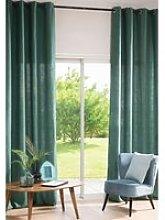 Single Basil Green Washed Linen Eyelet Curtain