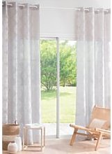 Single Beige Eyelet Curtain with White Graphic