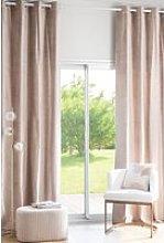Single beige velvet eyelet curtain 140x300cm