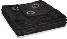 Single Black Velvet Eyelet Curtain 140x300