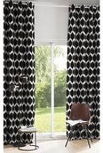 Single Black Velvet Eyelet Curtain with Jacquard
