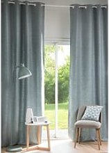 Single Blue Grey Fabric Eyelet Curtain 130x300