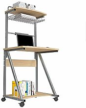 Single Computer Desk on Wheels Home Bedroom Mobile