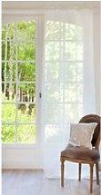 Single Ecru Linen Tie Top Curtain 105x300