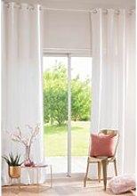 Single Ecru Velvet Eyelet Curtain 140x300