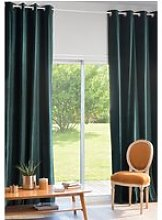 Single Emerald Green Velvet Eyelet Curtain 140x300