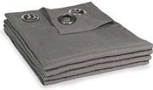 Single Grey Ashed Linen Eyelet Curtain 130x300