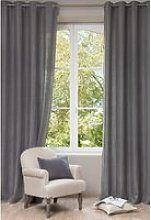 Single Grey Ashed Linen Eyelet Curtain 130x300