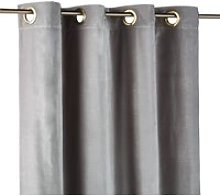 Single Grey Velvet Eyelet Curtain 140x300