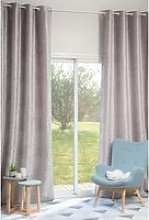 Single Grey Velvet Eyelet Curtain 140x300