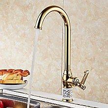 Single Handle Gold Kitchen Faucet Rose Gold
