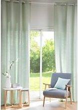 Single Light Green Washed Linen Eyelet Curtain