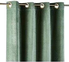 Single Lime Green Velvet Eyelet Curtain 140x300