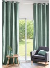 Single Lime Green Velvet Eyelet Curtain 140x300