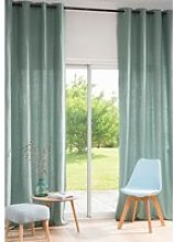 Single Lovat Green Washed Linen Eyelet Curtain