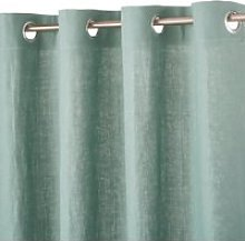 Single Lovat Green Washed Linen Eyelet Curtain