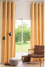 Single Mustard Yellow Velvet Eyelet Curtain 140x300