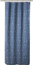 Single Navy Blue Print Cotton Tab Top Curtain