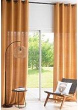 Single Ochre Linen Eyelet Curtain 130x300