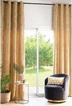 Single ochre velvet eyelet curtain 140x300cm