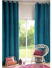 Single Peacock Blue Eyelet Curtain 130x300